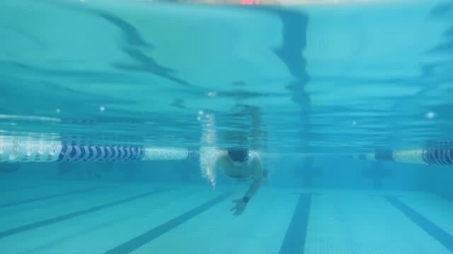 Bajo el agua: Hombre nadar más allá de la cámara - vídeo