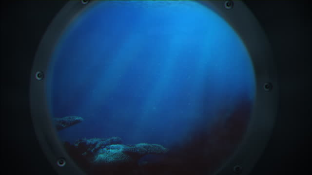 Underwater ocean through Porthole video
