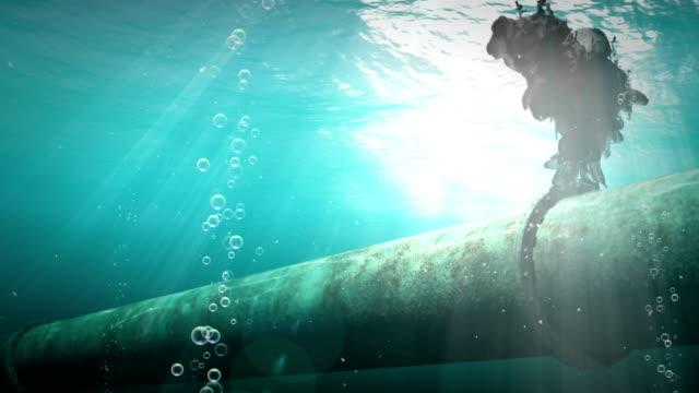 Underwater oil pipelines video