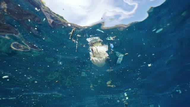 Unterwasser-Kunststoffverschmutzung in der Umweltreinigung im Ozean – Video
