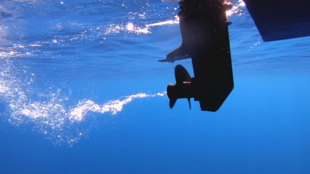 Underwater shot of boat propeller engine spinning. Underwater shot of boat propeller engine spinning. 06_Zanone_GOPRO_05 recreational boat stock videos & royalty-free footage