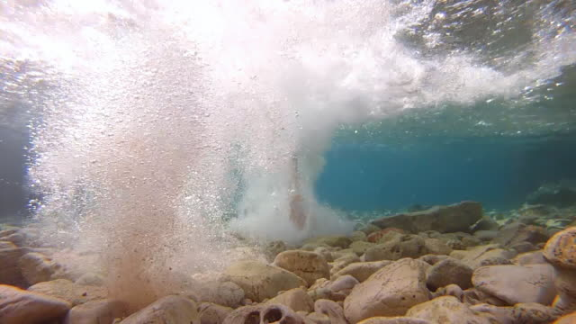 HD SLOW MOTION: Underwater Shot Of Running Feet video