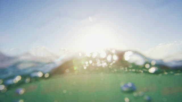 Underwater Surface With Rays of Light. Underwater Surface With Rays of Light. Beautiful Sunset Ocean Seascape. aqualung diving equipment stock videos & royalty-free footage