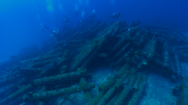Underwater Telephone Pole Artificial Reef Scuba Diving Stock Video