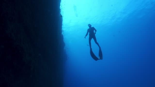 unterwasseransicht eines tauchers, der in der nähe eines dunklen riffs schwimmt - sporttauchen stock-videos und b-roll-filmmaterial
