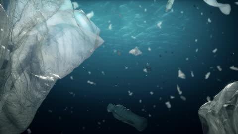 vídeos de stock e filmes b-roll de undewater pollution medium dof version - mar