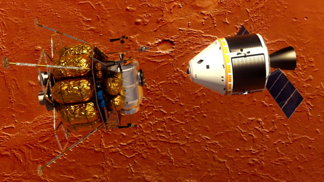 Undocking Of The Space Station And Lander Over The Planet Mars video