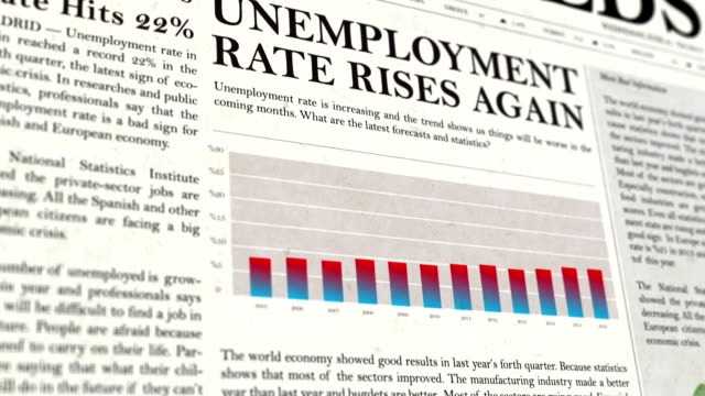 unemployment rate newspaper headline news - unemployment stock videos & royalty-free footage