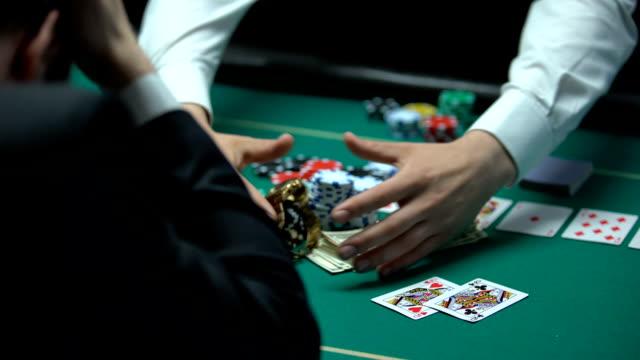 Unfortunate casino player losing money, going bankrupt, gambling addiction