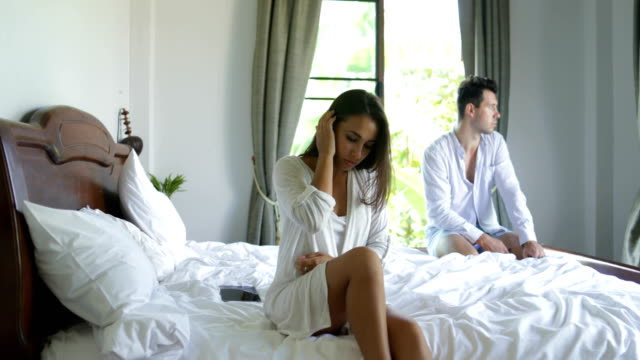 Unhappy Couple Having Problem In Bed, Serious Man And Woman Not Speaking Conflict Relationship Difficulties video