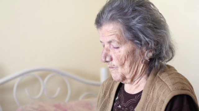Unhealthy old woman get support for eating, feed by daughter video