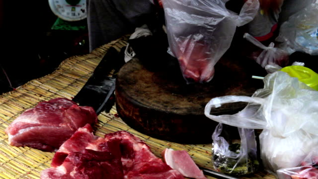 unhygienic meats on ground without ice in asian market video