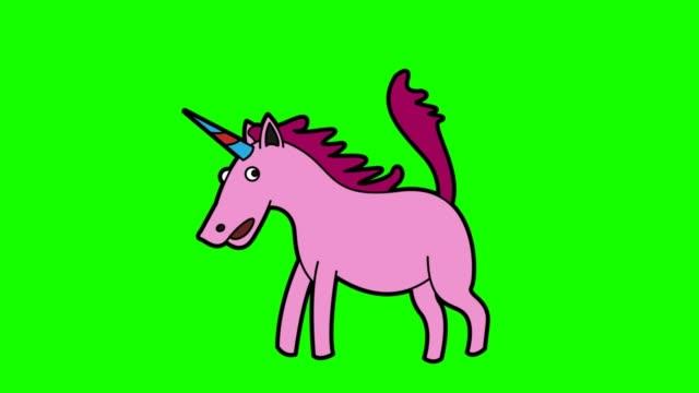 vídeos y material grabado en eventos de stock de animación de unicornio pantalla verde - unicornio
