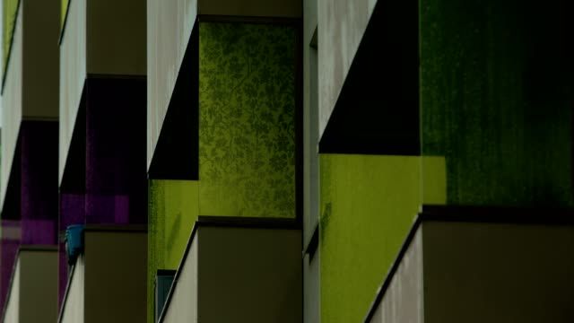 uniform and colorful balconies 01/02, close up - concrete architecture stock videos & royalty-free footage