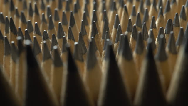 Uniform geometrical group of graphic pencils, back light macro video