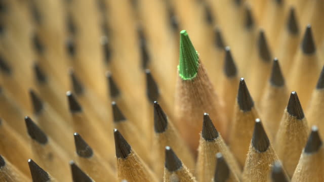 Uniform geometrical group of graphic pencils with green one in focus video