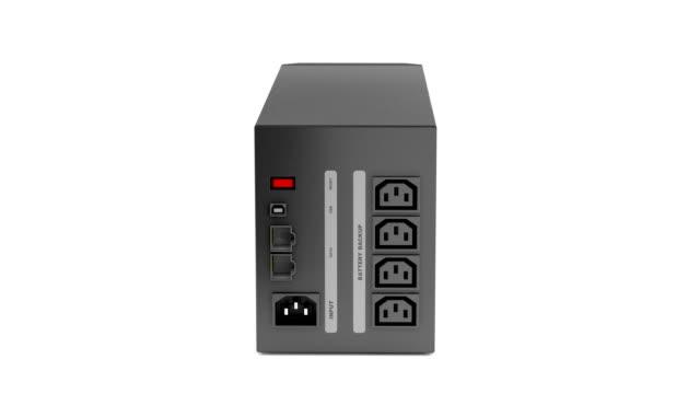 Uninterruptible power supply Uninterruptible power supply rotates on white background power supply stock videos & royalty-free footage