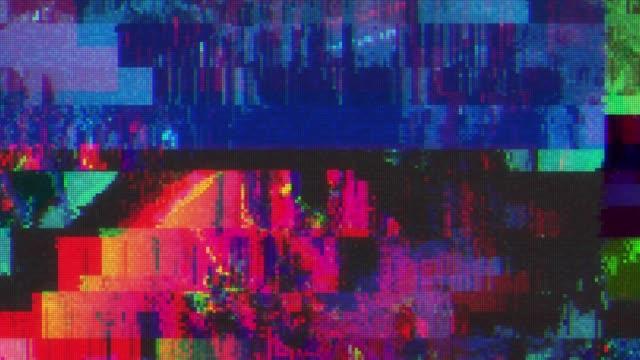 unique design abstract digital animation pixel noise glitch error video damage - проблемы стоковые видео и кадры b-roll
