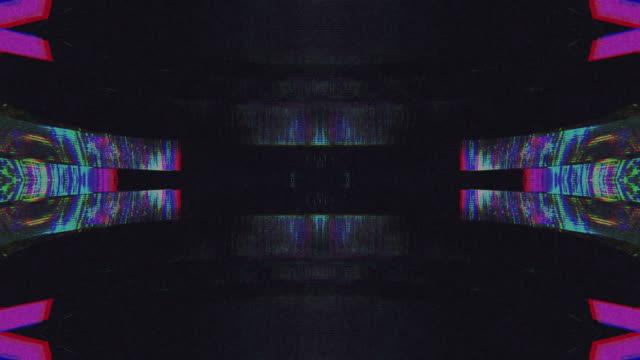 design unico simmetria astratta e riflessione digital pixel noise glitch background - effetto luminoso video stock e b–roll