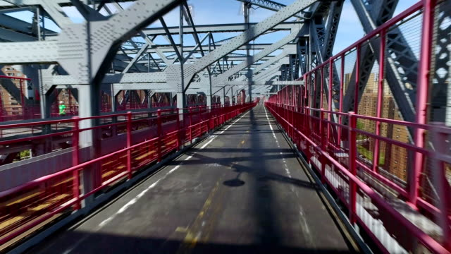 Unique Forward Perspective Traveling on Pedestrian Sidewalk on Williamsburg Bridge video
