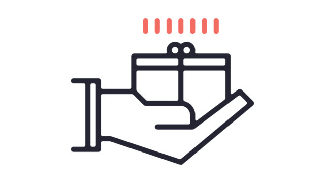 アルファとユニークなギフト アイデア ライン アイコン アニメーション - アイコン プレゼント点の映像素材/bロール