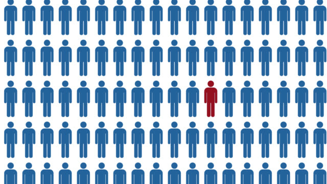 Unique person in the crowd Unique person in the crowd person icon stock videos & royalty-free footage