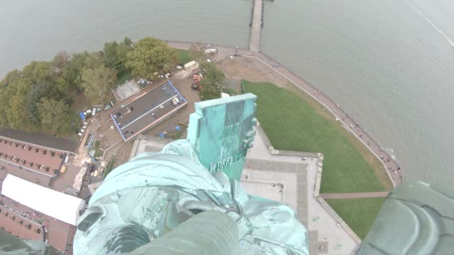 Unique view from the crown of Statue of Liberty, New York , USA
