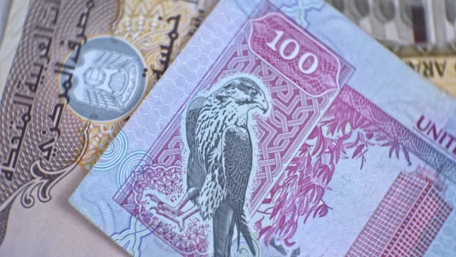 united arab emirates 100 dirham banknote, uae emirati money closeup - cartello economico video stock e b–roll