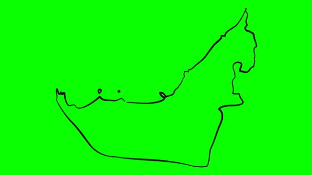 united arab emirates drawing outline map on green screen isolated whiteboard - uae flag filmów i materiałów b-roll
