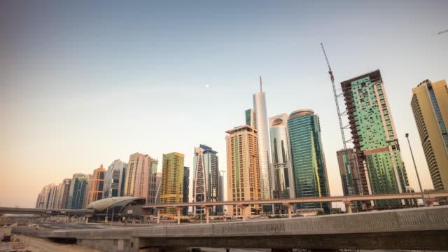 united arab emirates dubai marina sunset jlt metro station traffic road panorama 4k time lapse video