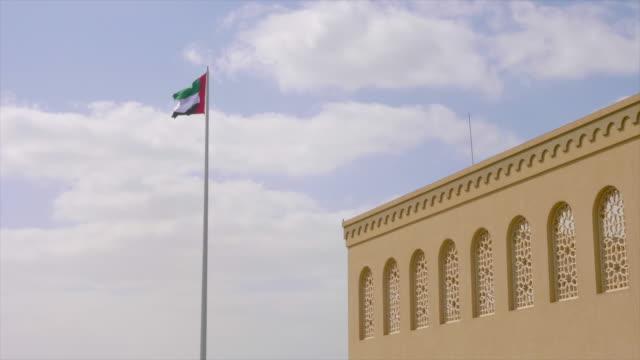 united arab emirates flag flying against clean and tranquil sky. - uae flag filmów i materiałów b-roll