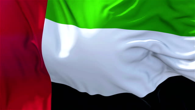 vídeos de stock e filmes b-roll de united arab emirates flag in slow motion classic flag smooth blowing in the wind on a windy day rising sun 4k continuous seamless loop background - democracy illustration