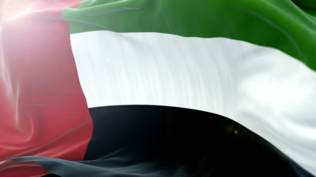 united arab emirates flag slow waving background. 4k close up flag waving. seamless loop - politica e governo video stock e b–roll