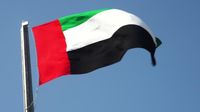 birleşik arap emirlikleri bayrağı açık gökyüzüne karşı sallayarak - uae flag stok videoları ve detay görüntü çekimi