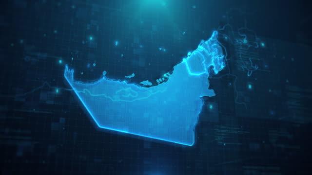 United Arab Emirates Map against blue animated background 4k UHD