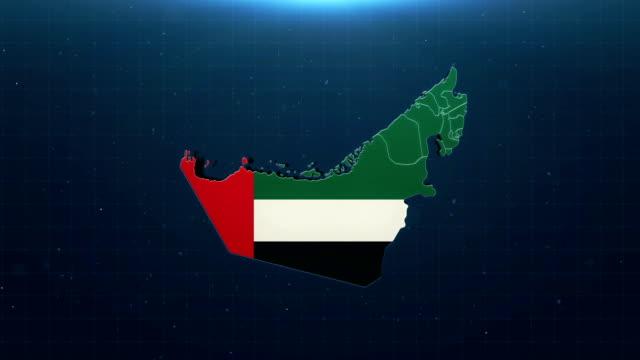 4k birleşik arap emirlikleri haritası ulusal bayraklı - uae flag stok videoları ve detay görüntü çekimi