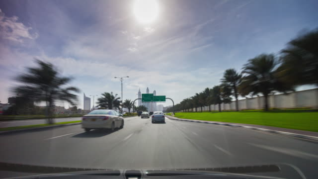 united arab emirates summer day dubai city jumeirah road trip panorama 4k time lapse video