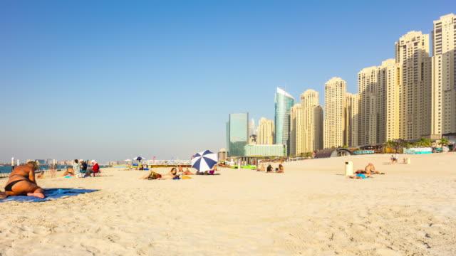 united arab emirates summer day dubai marina famous beach bay panorama 4k time lapse video