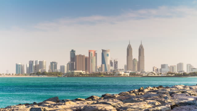 united arab emirates summer day dubai tecom palm jumeirah panorama 4k time lapse video