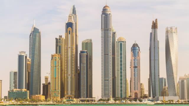 united arab emirates summer sunset dubai marina palm bay panorama 4k time lapse video