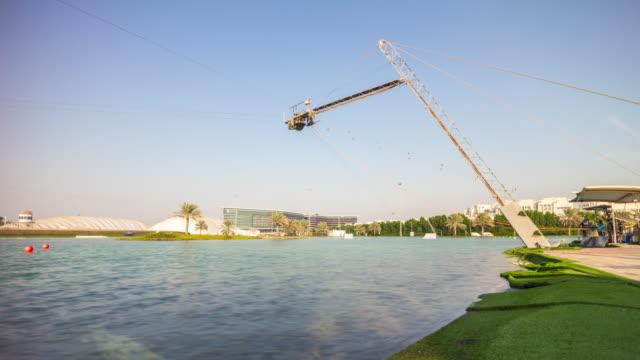 united arab emirates sunny day abu dhabi famous wakeboard park panorama 4k time lapse uae video
