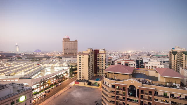 united arab emirates sunny day dubai al barsha rooftop cityscape panorama 4k time lapse uae video