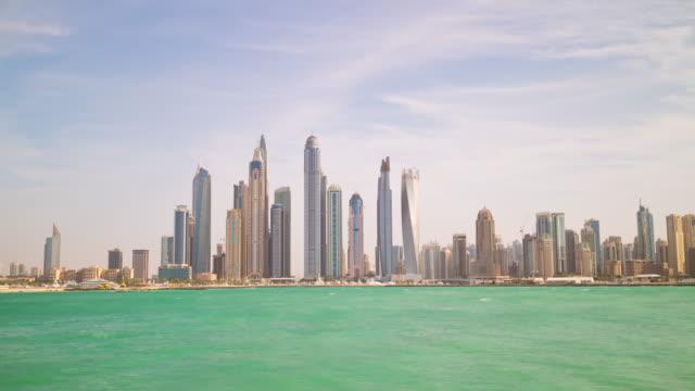 united arab emirates sunny day dubai city famous marina from palm panorama 4k time lapse uae video