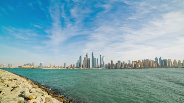 united arab emirates sunny day dubai marina jumeirah palm bay panorama 4k time lapse video