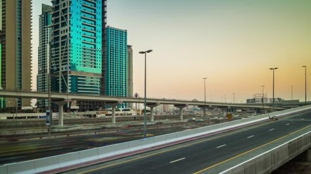 united arab emirates sunset sky dubai marina sheikh zayed traffic road panorama 4k time lapse video