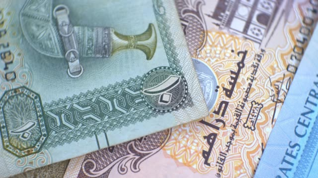 united arab emirates ten dirham banknote, uae emirati money closeup - cartello economico video stock e b–roll