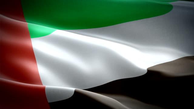 объединенные арабские эмираты размахивают флагом. национальный 3d флаг оаэ развевается. знак объединенных арабских эмиратов бесшовные пет� - uae flag стоковые видео и кадры b-roll