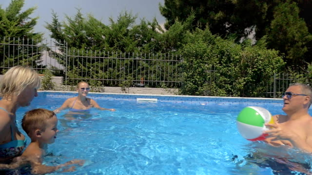 United Family Playing Ball in the Pool video