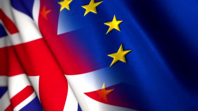 förenade kungariket och europeiska unionens flagga, brittisk eu-folkomröstningen brexit konceptet med plats för text, logotyper, grafik och titlar - brexit bildbanksvideor och videomaterial från bakom kulisserna