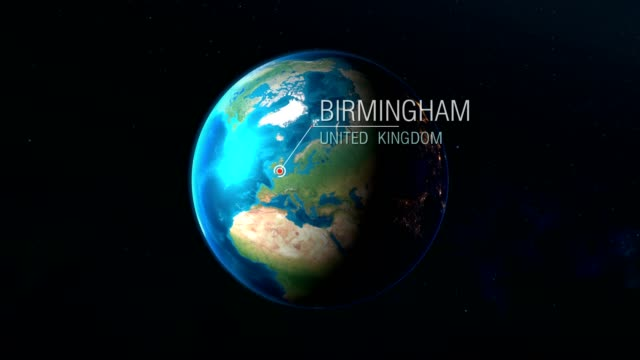 United Kingdom - Birmingham - Zooming from space to earth Realistic earth zoom concept animation uk map stock videos & royalty-free footage